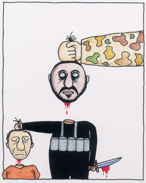 橋本勝の21世紀風刺絵日記:第1回:目には目を、首には首を