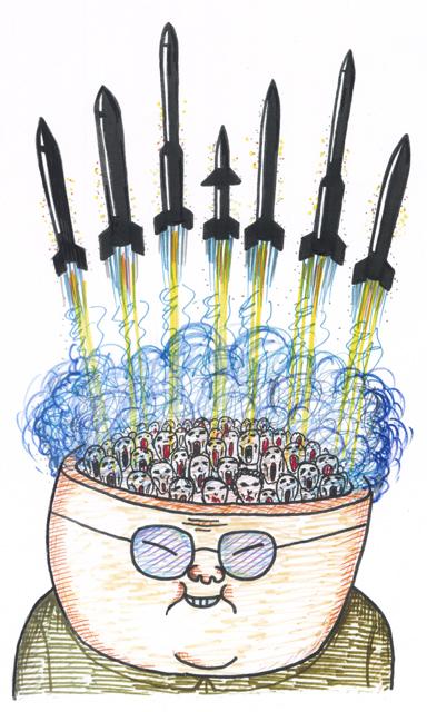 橋本勝の21世紀風刺絵日記:第4回:米(コメ)より、北(ミサイル)がいい