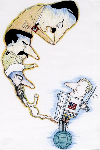 橋本勝の21世紀風刺絵日記:第13回:ブッシュはデモクラシーのファシストである