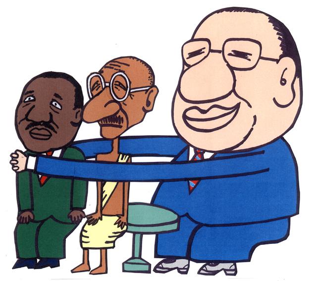 橋本勝の21世紀風刺絵日記:第20回:ガンジー、キング、イケダという悪い冗談