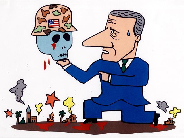 橋本勝の21世紀風刺絵日記:第21回:イラクから撤退すべきか、否か、それが問題だ