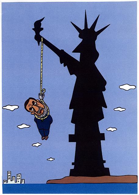 橋本勝の21世紀風刺絵日記:第29回:フセインの死刑に乾杯!!