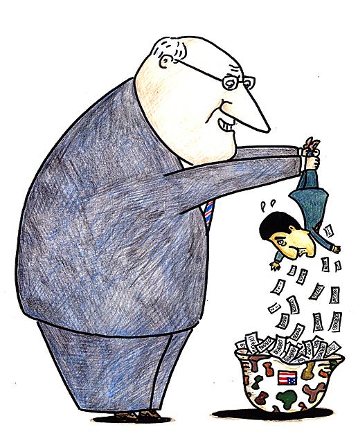 橋本勝の21世紀風刺絵日記:第36回:チェイニー来たりて、金むしりとる