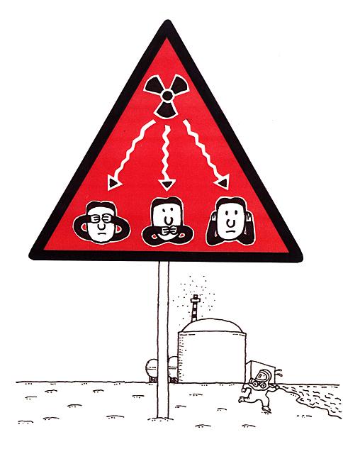 橋本勝の21世紀風刺絵日記:第39回:原発の事故隠し、警告!のマークを設置せよ