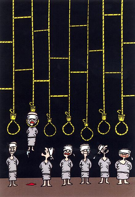 橋本勝の21世紀風刺絵日記:第62回:死刑制度存続のためには、吊るしまくるしかない
