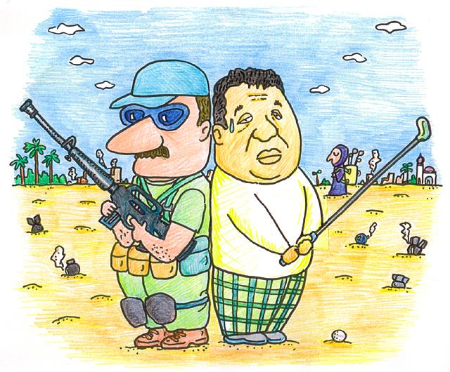 橋本勝の21世紀風刺絵日記:第70回:いっそ、イラクでゴルフ三昧