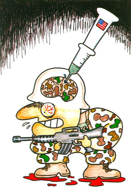 橋本勝の21世紀風刺絵日記:第78回:新兵の脳に筋肉増強剤を注入、イラクへ送り込め