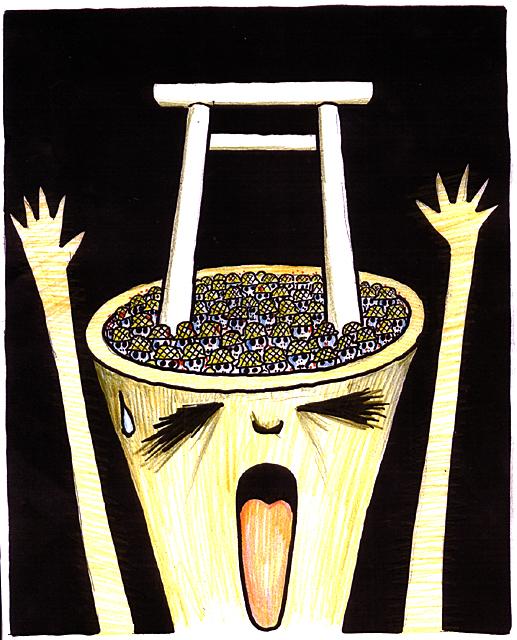 橋本勝の21世紀風刺絵日記:第94回:靖国のマインドコントロールで死屍累々