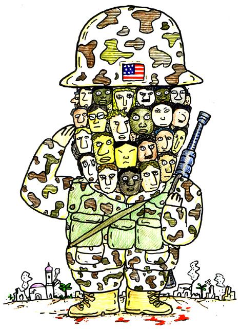 橋本勝の21世紀風刺絵日記:第95回:米兵になって、アメリカ人になろう