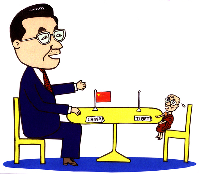 橋本勝の21世紀風刺絵日記:第98回:中国とチベットがトップ会談、中国の寛大さに感謝せよ