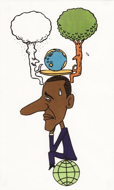 橋本勝の21世紀風刺絵日記:128回  核VSグリーン、どうするオバマ米大統領