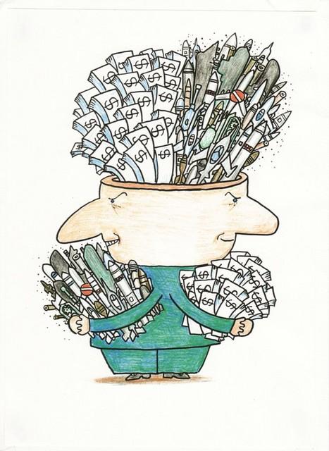 橋本勝の21世紀風刺絵日記:129回 持てば持つほど欲しくなる 強欲の論理