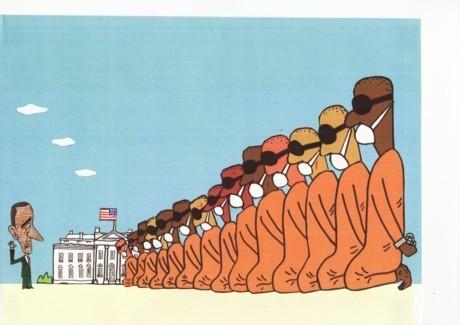 橋本勝の21世紀風刺絵日記:144回  グアンタナモ収容所をワシントンに移設せよ