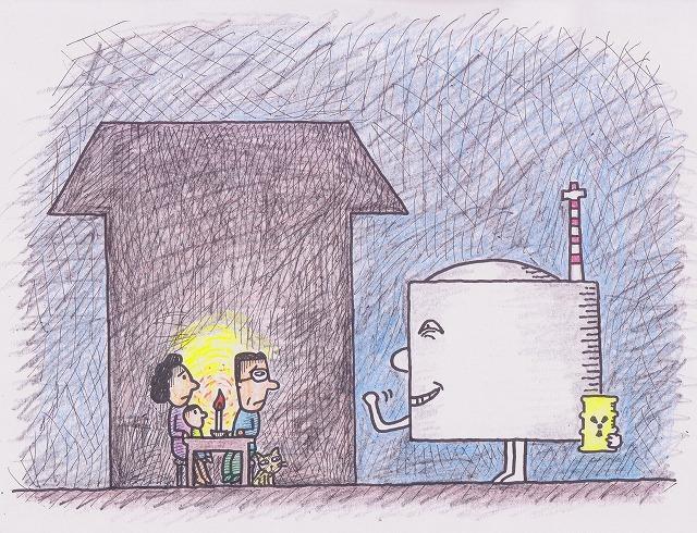 橋本勝の21世紀風刺絵日記:175回 計画停電は、原発は必要のキャンペーンではないか