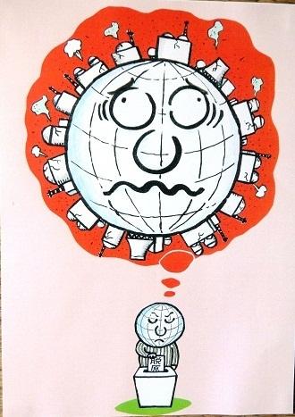 橋本勝の21世紀風刺絵日記:179回 もちろん地球も脱原発に1票
