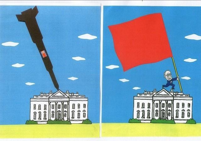 橋本勝の21世紀風刺絵日記:257回 ああ、ホワイトハウス 悪夢か、正夢か