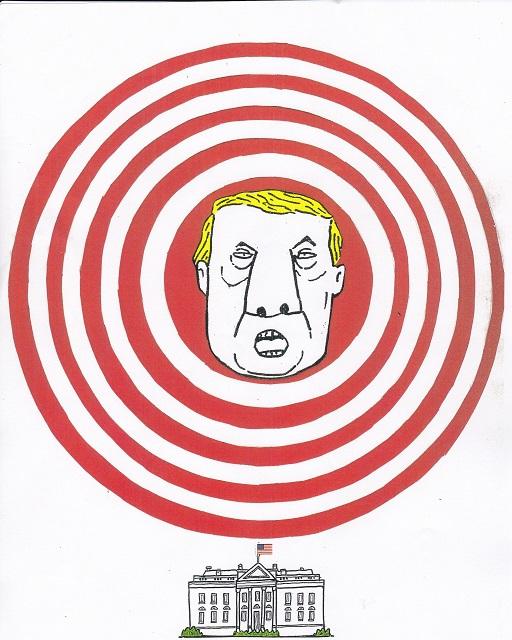橋本勝の21世紀風刺絵日記:278回  トランプを銃の標的ではなく 風刺画の標的に!!