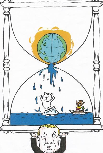 橋本勝の21世紀風刺絵日記:319回 トランプ製終末時計はいかが・・・・!?