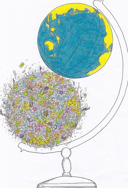 橋本勝の21世紀風刺絵日記:331回 人間の文明の進化の究極はふたつの地球儀