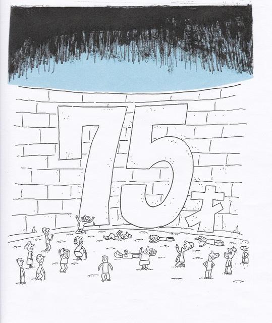 橋本勝の21世紀風刺絵日記:363回 お年寄りたちの上の青空が暗く重くのしかかる